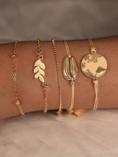 Tendance Alliage Avec Shell/Leaf Bracelets(5 Pièces)