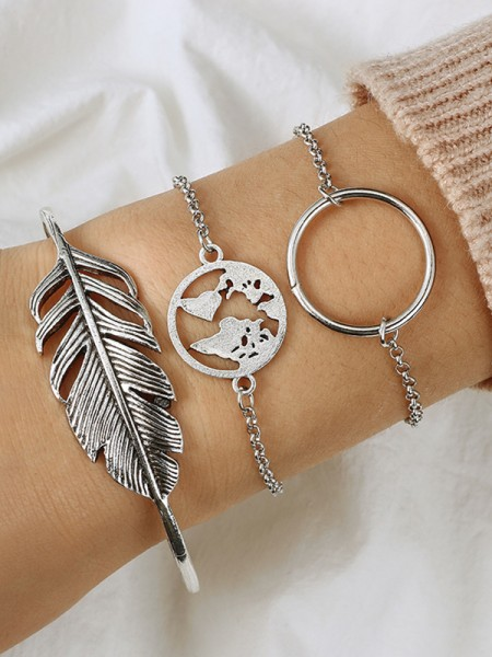 Awesome Alliage Avec Leaf Bracelets(3 Pièces)