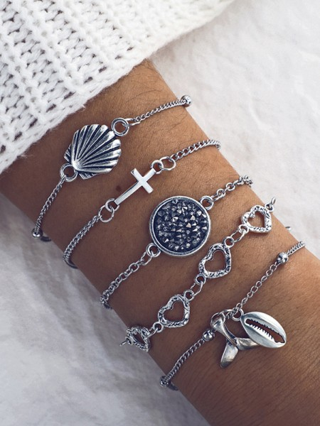 Gorgeous Alliage Avec Shell Bracelets(5 Pièces)