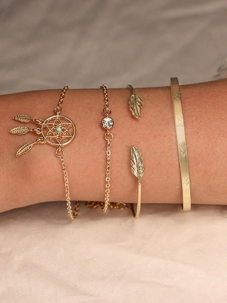 Agréable Alliage Avec Faux diamants Bracelets(4 Pièces)