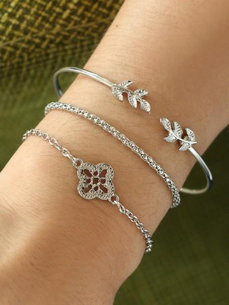 Chic Alliage Avec Fleur/Leaf Bracelets(3 Pièces)