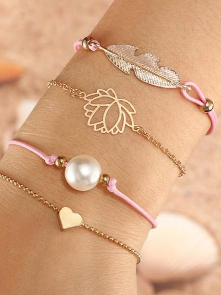 Charmant Alliage Avec Imitation Pearl/Leaf Bracelets(4 Pièces)