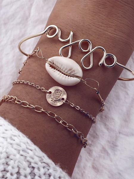 Exquis Alliage Avec Shell Bracelets(4 Pièces)