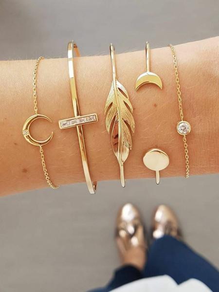 Joli Alliage Avec Faux diamants/Leaf Bracelets(5 Pièces)