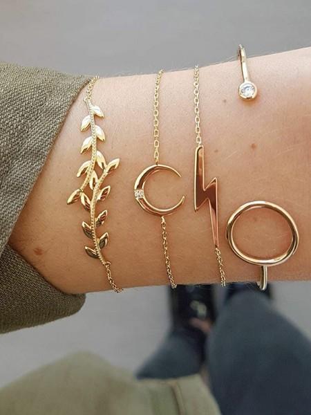 Cute Alliage Avec Moon/Leaf Bracelets(4 Pièces)