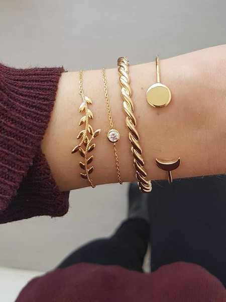 Stylish Alliage Avec Faux diamants/Leaf Bracelets(4 Pièces)