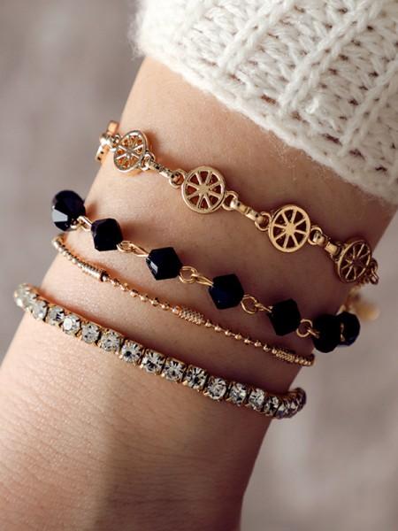 Charming Alliage Avec Faux diamants Bracelets(4 Pièces)