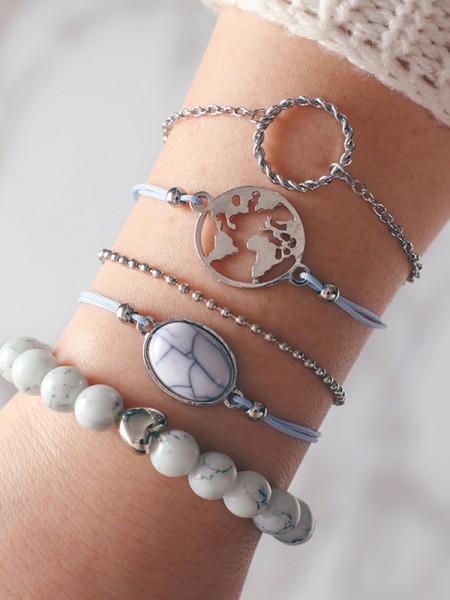 Chic Alliage Avec Beads Bracelets(5 Pièces)