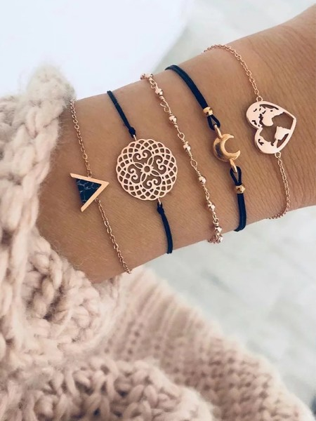 Fascinating Alliage Avec Heart/Moon Bracelets(5 Pièces)