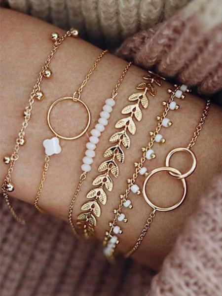 Fantaisie Alliage Avec Fleur/Beads Bracelets(6 Pièces)