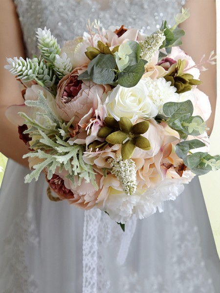 Blooming Free-Form Artificial Flower De mariée Bouquets