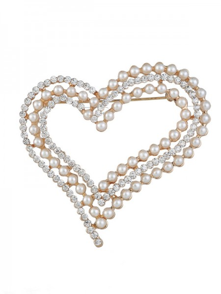 Eternal Love Alliage With Faux diamants/Imitation Pearl Ladies' Broche