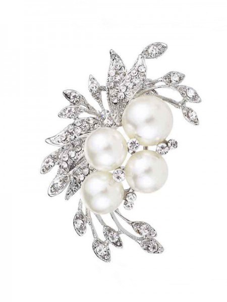 Flower Shaped Alliage With Faux diamants/Imitation Pearl Ladies' Broche