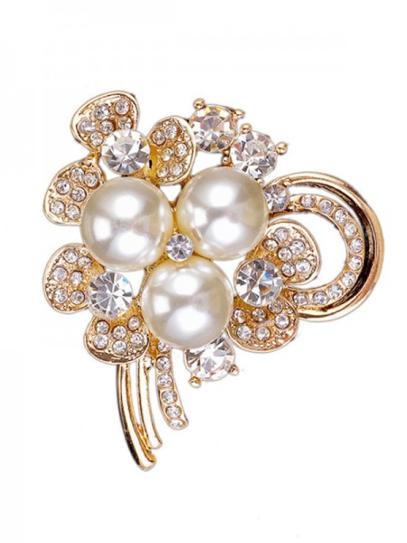 Chic Alliage With Faux diamants/Imitation Pearl Ladies' Broche