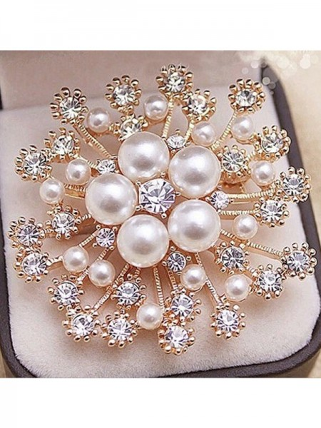 Luxueux Alliage With Faux diamants/Imitation Pearl Ladies' Broche