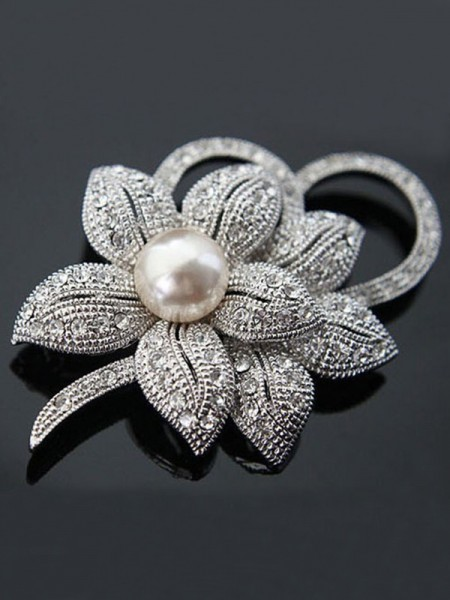 Fantaisie Alliage With Cristal/Imitation Pearl Ladies' Broche