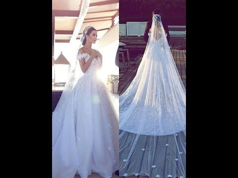 Ball Gown Satin Chiffon V-neck Sleeveless Chapel Train Wedding Dresses