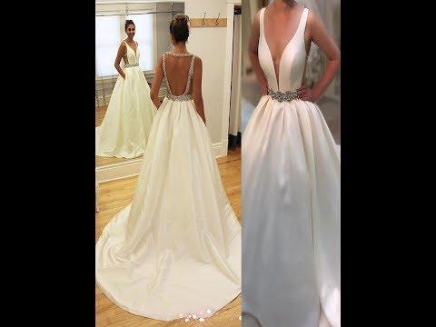 A-Line/Princess Court Train Satin V-neck Sleeveless Wedding Dresses
